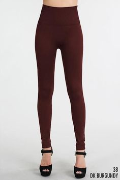 """Searching for not see-thru leggings?  We have them!  These burgundy leggings are perfect to wear with any top, no matter the length! They sport a 5"""" high waistband for tummy control too! Great color for Fall & Winter!  Shop: https://www.shoppinwithsailin.com/collections/sale/products/not-see-thru-burgundy-leggings-5-waistband?utm_content=buffer70b80&utm_medium=social&utm_source=pinterest.com&utm_campaign=buffer  One Size Fits Most (0-12) 92% Nylon 8% Spandex Hand Wash Cold Made in USA FREE…"""