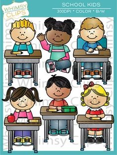 The school kids clip art set contains 30 image files, which includes 15 color images and 15 black & white images in png and jpg. All images are 300dpi for better scaling and printing.