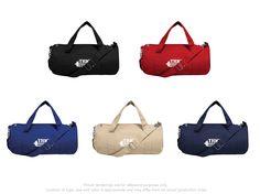 #TRIO Brand Gear™ Delta™ Duffel Bag™ 100% 11 oz. cotton canvas round duffel bag Large main pocket plus outer pocket Reinforced handles and detachable shoulder straps Metal hardware and clips VibraColor® Full Color Process available