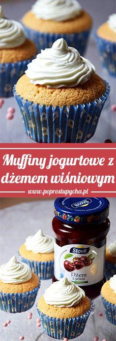 Muffinki jogurtowe z dżemem wiśniowym oraz delikatnym kremem na wierzchu! <3 Są wręcz idealne :) #poprostupycha #muffinki #przepis #muffiny #dzem Muffins, Recipes, Cupcakes, Food, Kuchen, Muffin, Cupcake Cakes, Recipies, Essen