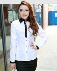 White Office Style Casual Ladies Shirt with Black Details