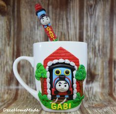 Polymer clay mug - Thomas train