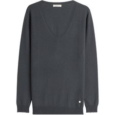Nina Ricci Cashmere Pullover (2.565 BRL) ❤ liked on Polyvore featuring tops, sweaters, grey, oversized sweater, cashmere sweater, oversized grey sweater, cashmere v neck sweater and oversized slouchy sweater