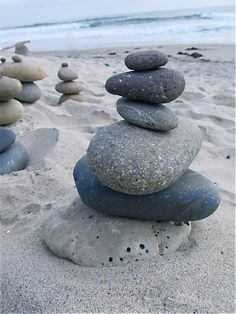 Beach rock sculptures - drill holes and stack onto steel rods
