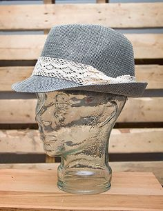 Gray Fedora with Lace Bow // $19.99 // shopboldthreads.com // #bold #threads #boldthreads #hat #fedora #accessories #fashion #gray #bow #lace