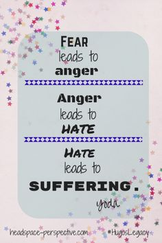 Fear leads to anger, anger leads to hate, hate leads to suffering - Yoda