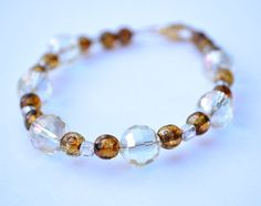 Amber and Yellow Glass Beaded Bracelet by ThoreauFair on Etsy, $5.99