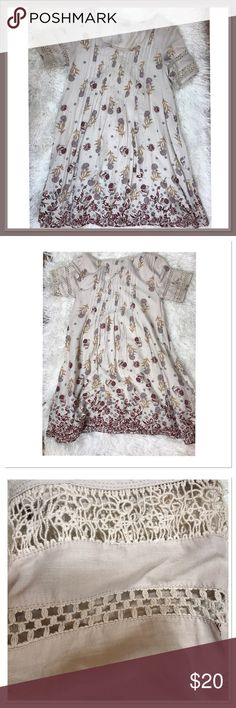👡BEAUTIFUL FLORAL TUNIC👡NWOT Beautiful floral tunic- embroidered sleeves.  Pleated top. Short sleeves Ecote Dresses Mini