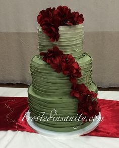 sage ruffles and red hydrangea wedding cake