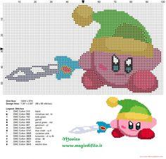 Kirby Link patrón punto de cruz