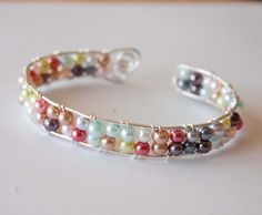Multicolored Pearl Silver Wired Cuff Gifts under 20 by mlwdesigns, $18.00