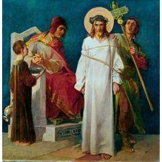 Jesus Condemned to Die (1st Station of The Cross) 1898 Martin Feuerstein (1856-1931 French) Saint Anna Church Munich Germany Canvas Art - Martin Feuerstein (18 x 24)