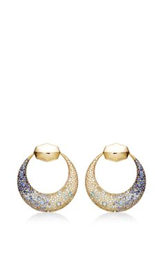 18K Yellow Gold Moon Earrings With Diamonds, Dark Blue Sapphires, Light Blue Sapphires And Blue Topaz by Octium