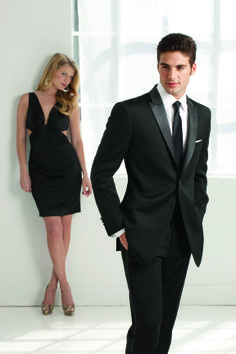 IKE Behar Evening black tuxedo with peek lapel.