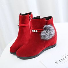 Designer Increased Heel Zipper Fur Lining Ankle Boots - NewChic Mobile