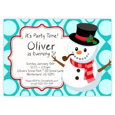 Snowman Invitation  Turquoise Blue Polka Dots by PurpleBerryInk,