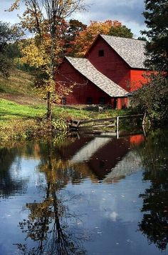 Red barn and reflecting pool...