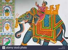 Thai Elephant, Elephant Art, Phad Painting, Mud House, Art Village, Embroidery Neck Designs, Rajasthan India, Udaipur, Indian Art
