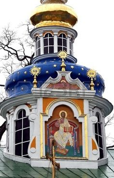 Saint Assumption Pskovo Pechersky monastery one of the largest and rich in Russia friaries with cent Stock Photo