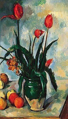Paul Cezanne: Tulips in Vase. A painting made during the french revolution.