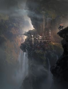 Fantasy city built in the side of a mountain. Illustration by Park Jong Wong. Fantasy City, Fantasy Castle, 3d Fantasy, Fantasy Places, Fantasy Setting, Fantasy Kunst, Fantasy Landscape, Fantasy World, Landscape Art