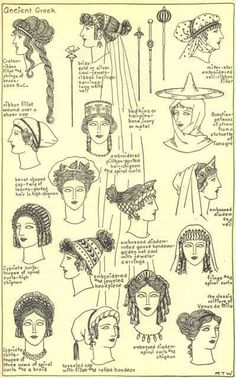 Women's hairstyles and accessories throughout ancient Greek history. Women's hairstyles and accessories throughout ancient Greek history. Ancient Greece Clothing, Ancient Greece Fashion, Ancient Roman Clothing, Greek History, Ancient History, Roman History, European History, American History, Historical Costume
