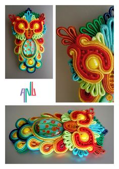 Handmade ANU Jewelry Soutache Brooche Owl Rainbow
