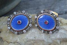 Russian Ruby Diamond Cobalt Blue Guilloche Enamel Cufflinks Silver & 14k