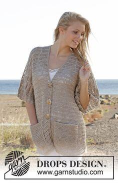"DROPS Extra 0-918 - Hæklet DROPS jakke uden ærmesøm i ""Cotton Light"". Str S - XXXL - Free pattern by DROPS Design"