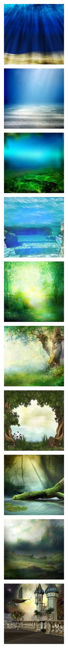 """""""Backgrounds"""" by saphirange ❤ liked on Polyvore featuring backgrounds, water, ocean, underwater, filler, landscape, scenery, art, pictures and green"""