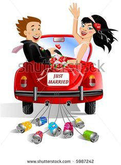 Just married couple in wedding decorated car by TIMURA, via ShutterStock