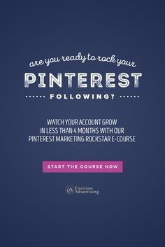 Are you ready to rock your Pinterest following? Watch your account grow in less than 4 months with our Pinterest Marketing Rockstar E-course. http://envizionadvertising.com/online-pinterest-marketing-course/#utm_sguid=134760,7aa69bda-563c-22cb-4840-68612d935f34