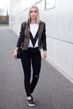 Subdued Ripped Black Jeans, H&M Black Slip Ons, Ivy Revel White V T Shirt, We Jacket