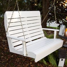 Porchgate Amish Made High Back White Garden Swing