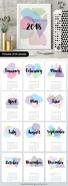 2019 Printable Calendar with colorful abstract stains.