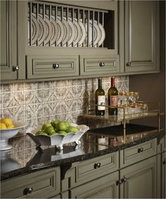 kitchenkitchen sage green painted cabinets black granite countertops glossy pattern tile backsplash beautiful green - Black Granite Countertops With Tile Backsplash
