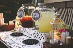 Self-serve refreshment offered in Mason Jar Drink Dispensers that hold almost 3 gallons of your beverage of choice.  Vintage, Rustic vintage, french country inspired, Country Barn, Garden  wedding, baby shower, bridal shower. See more Rentals from American Vintage Rentals https://www.pinterest.com/usvintagerental/our-vintage-rental-inventory/