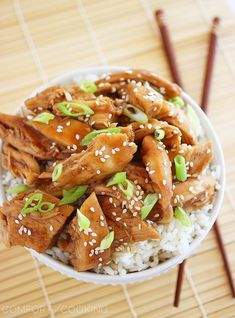 Slow Cooker Teriyaki Chicken Recipe ~ It is incredibly tender and flavorful, falls apart on your fork and melts in your mouth.