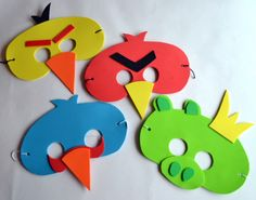 Angry Bird Party Masks - instead of hats....Could be fun!