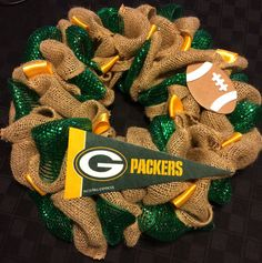 Hey, I found this really awesome Etsy listing at https://www.etsy.com/listing/212493638/green-bay-packers-burlap-mesh-wreath