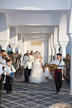 #Greek Orthodox #wedding bride escorted by her Father and #Greek #musicians. event design StellaAndMoscha.com