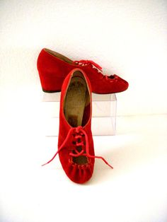 Vintage 30s 40s Red Suede Wedge Shoes Rockabilly by OmAgainVintage, $85.00