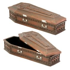 """Hand painted for a natural wooden finish, this box is perfect for storing trinkets and small vampires. Made of cold cast resin. Hand painted. L: 8"""" x W: 3.25"""" x H: 2"""""""