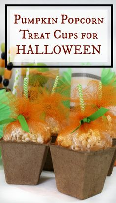 pumpkin popcorn treat cups for your halloween party - jenny at dapperhouse