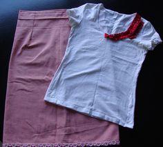 linane kardin ja valge t-särk. Tänaseks seelik ja satsiga topp :)