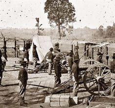 Sherman's men in a Confederate fort, Atlanta, Georgia