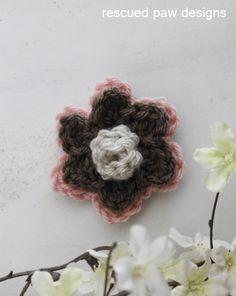 Double Layer Rosette Crochet Flower Pattern :: Rescued Paw Designs www.rescuedpaw.com