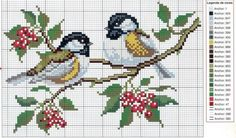 cross  stitch pair of birds