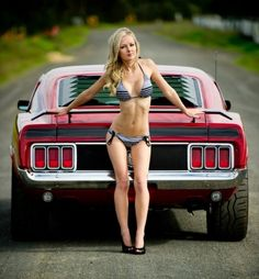 A naked babe with blachk and red mustang photo 472