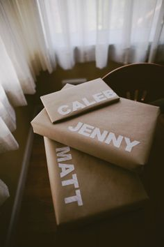 Could be solid for my next door decs. Make little packages, wrap them and then have names on them in bold Helvetica